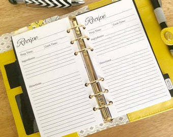 Recipe Personal Size Printed Planner Insert