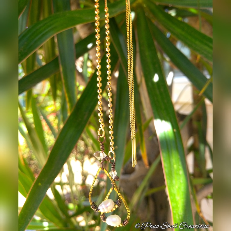 Pearl /& Herkimer Diamond Teardrop Chain Threader Earrings Faceted Brass Extra Long Threaders Minimalist Made in Hawaii Pono Shell Creations