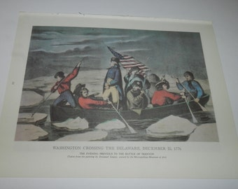 Washington Crossing The Delaware / Surrender of General Burgoyne... Currier & Ives prints from 1968 book, Chronicles of America        31-59