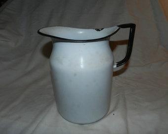 White Enamel Water Pitcher                                                                     ---      60-02