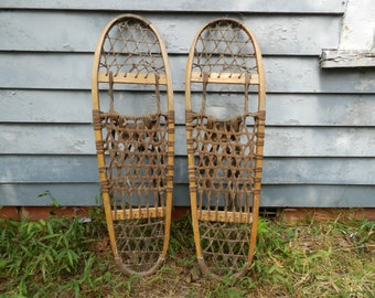 Vintage Vermont Tubbs Wood  Snowshoes - 10X36 S-9 - with original bindings - Great decorator piece for Cabin or Lodge or Cottage         E-1