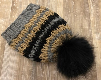 Ready to go, Igloo Tuque, hand-knitted raccoon fur pom
