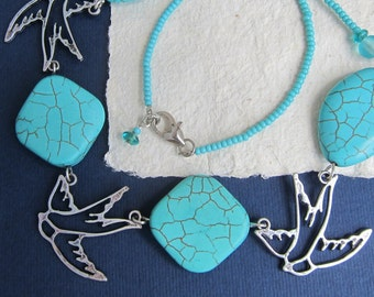 "Short necklace, Swallows &""turquoise"", Tibetan silver, Birds necklace, Silver swallows, Vacation style, Summer birds, Boho style"