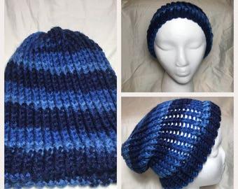 blue striped beanie