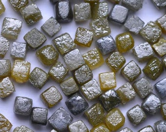 2.00MM to 2.20MM - 7 to 9 per 1 Carat - Natural Uncut Rough Diamond Rohdiamant Brut Diamant - Cube Cubic Yellow Black Gray