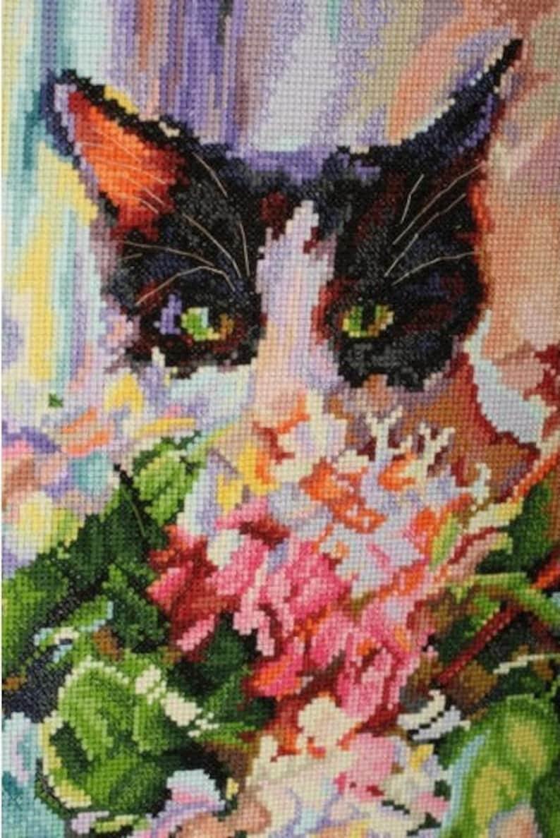 Cat/'s green glance Counted Cross Stitch Kit RTO