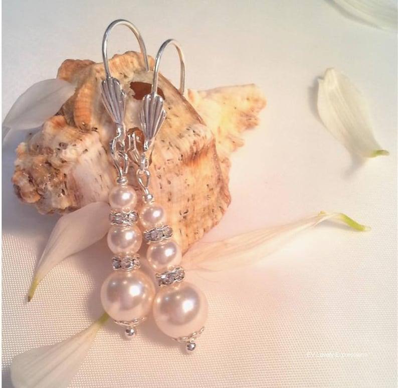 Wedding jewelry Gray Pearl Bridal Earring Pearl Bridesmaids Earrings Ivory White Pearl Dangle Earring Gift Pearl Wedding Earrings