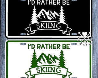 Screw Caps I/'d rather be SKIING SKI SKIS Black Metal License Plate Frame