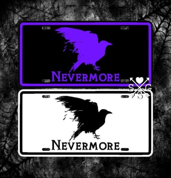 Raven Nevermore License Plate Edgar Allan Poe Car Tag   Etsy
