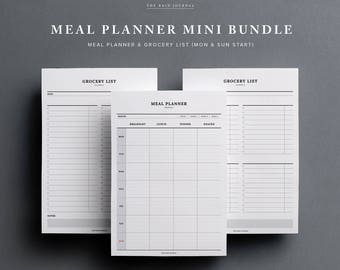 meal planner etsy