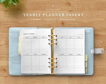 Yearly Planner Spread - Yearly Planner Printable, Yearly Organizer, Planner Inserts, Instant Download, Filofax Insert, Yearly Goals, Kikki k