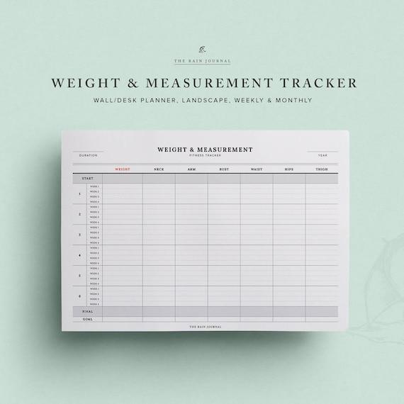 weight measurement tracker printable planner insert etsy
