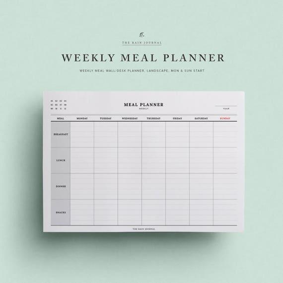 Mahlzeit-Wochenplaner / wöchentliche Mahlzeit-Wand-Planer A2 | Etsy