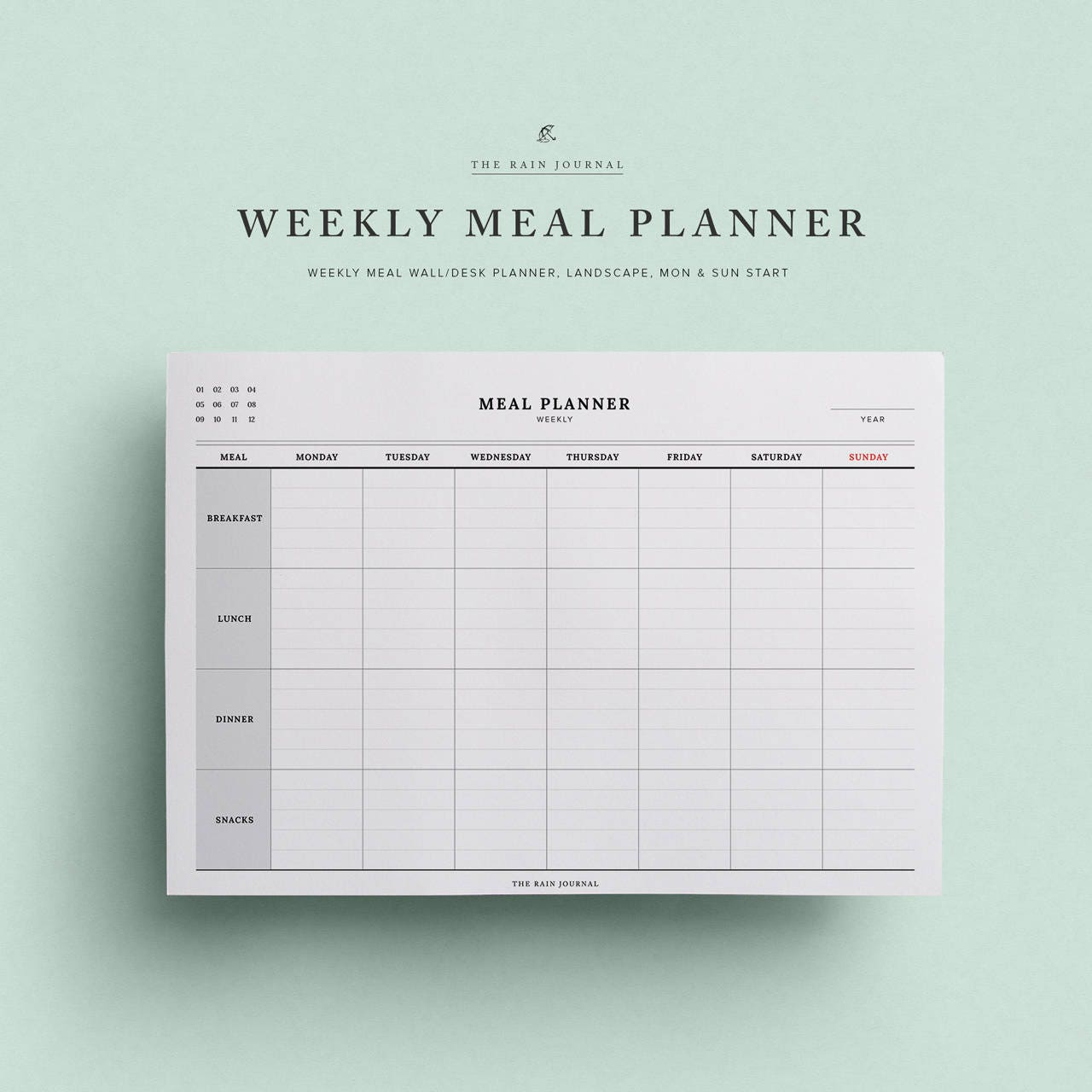 Fantastisch Wöchentliche Mahlzeit Plan Vorlage Ideen - Beispiel ...