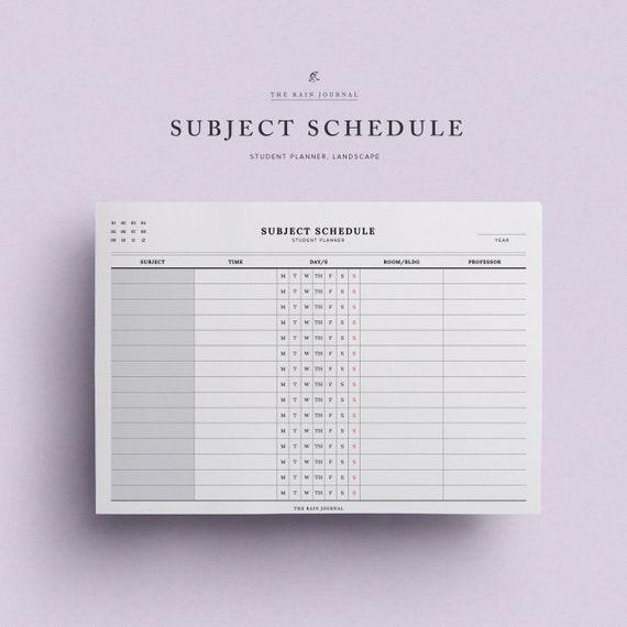 Thema Zeitplan druckbare Student Planer Schule Zeitplan | Etsy