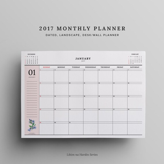 items similar to 2017 monthly planner dated 2017 calendar
