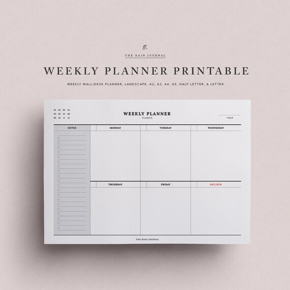 weekly planner printable weekly organizer weekly agenda etsy