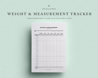 Weight & Measurement Tracker Printable - Instant Download 12 Week Weight Tracker, Fitness Challenge, Fitness Tracker, Planner, Goal Tracker