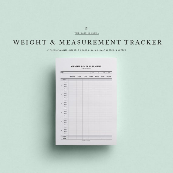 weight measurement tracker printable instant download 12 etsy