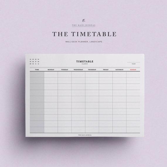 school timetable work timetable student planner printable etsy