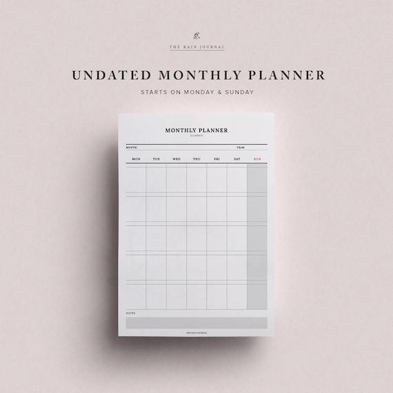 monthly planner undated portrait wall planner desk etsy