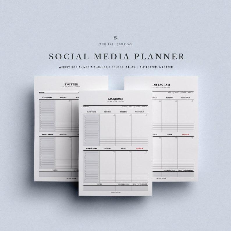 Social Media Planner, Facebook Planner, Instagram Planner, Twitter Planner,  Printable Planner, Blog Planner, Blog Printable, Planner Insert