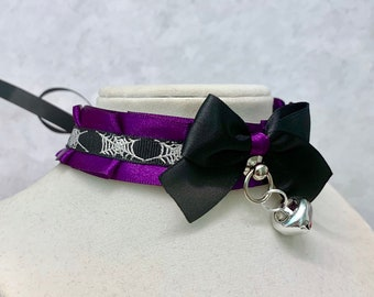 BDSM Collar Add On ADD-ON only Large Purple Bell Halloween