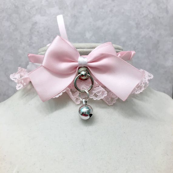 Made to Order Pleated Ruffled Lace Gothic Lolita KittenPet Play DDLG BDSM Light Baby Pink Bow Bell Pastel Pink and White Alice Collar