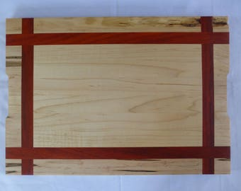 Framed pattern Ambrosia maple, padauk and maple solid wood cutting board, decorative tray, double sided, Custom
