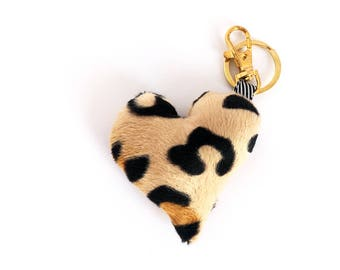 Plush Heart Bag Charm / Key Chain - Leopard Print - Add personality to your bag!