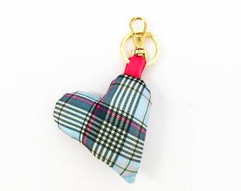 Plaid Plush Heart Bag Charm / Key Chain - Purse Charm - Add personality to your bags!