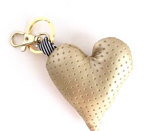 Plush Heart Bag Charm / Key Chain - Gold Purse Charm - Add personality to your bag!