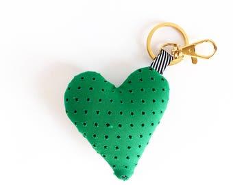 Plush Heart Bag Charm / Key Chain - Green Heart Purse Charm - Add personality to your bag!