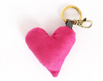 Plush Heart Bag Charm / Key Chain - Pink Heart Purse Charm - Add your own personality to any of our bags!