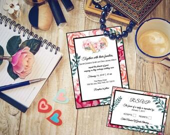 Floral Wedding Invitation & R.S.V.P