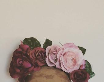 Flower Crown - Plum & Dusty Pink Fascinator