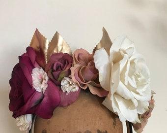 Flower Crown - Plum, Dusty Pink, Metallic Gold & Ivory