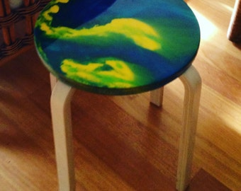 Resin Art Side Table - BlueGrass Art Colours - Made to Order