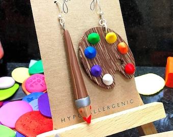 Artist Palette and Brush Earrings XL