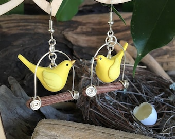 Bower Birdies on Swings Earrings