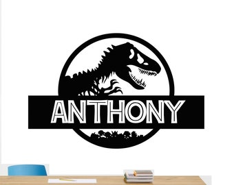 Custom Name Jurassic Era Logo Wall Decal Personalized Decal Tyrannosaur  Vinyl Sticker Dinosaur Wall Kids Room Decor Removable Wall Mural