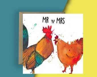 Cockadoodle i do chicken animal pun wedding card for mrs and mrs