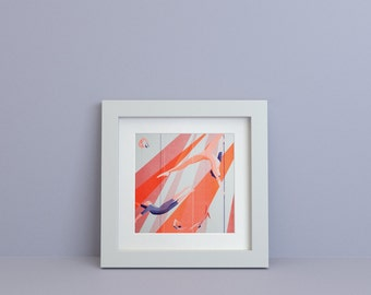 Fluorescent Riso Print, 30x30 Limited Poster signed. Acrobats - Illustration