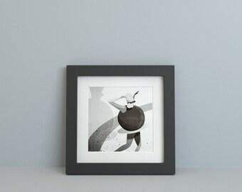 Riso Print, 30x30 Limited Poster signed. Dancer 02 - Illustration