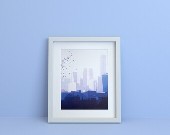 Digital Print, 30x40 Limited Poster signed. Cityscape - Illustration