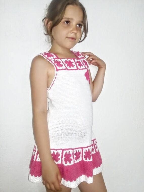Blanco crochet vestido de verano vestido de niños niña   Etsy