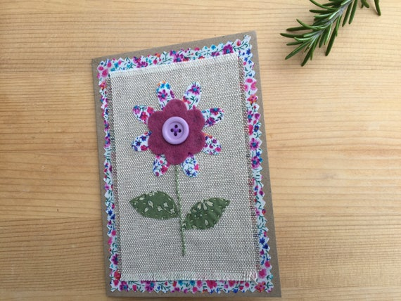 Handmade liberty tana lawn fabric applique greetings card etsy image 0 m4hsunfo