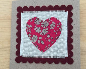 Handmade liberty tana lawn greetings card suitable for birthday, Valentine's Day,  Mother's day