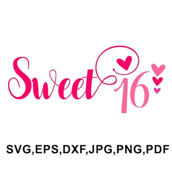 Beste Sweet 16 svg file Sweet 16 cut design Sweet 16 cameo and   Etsy HW-93