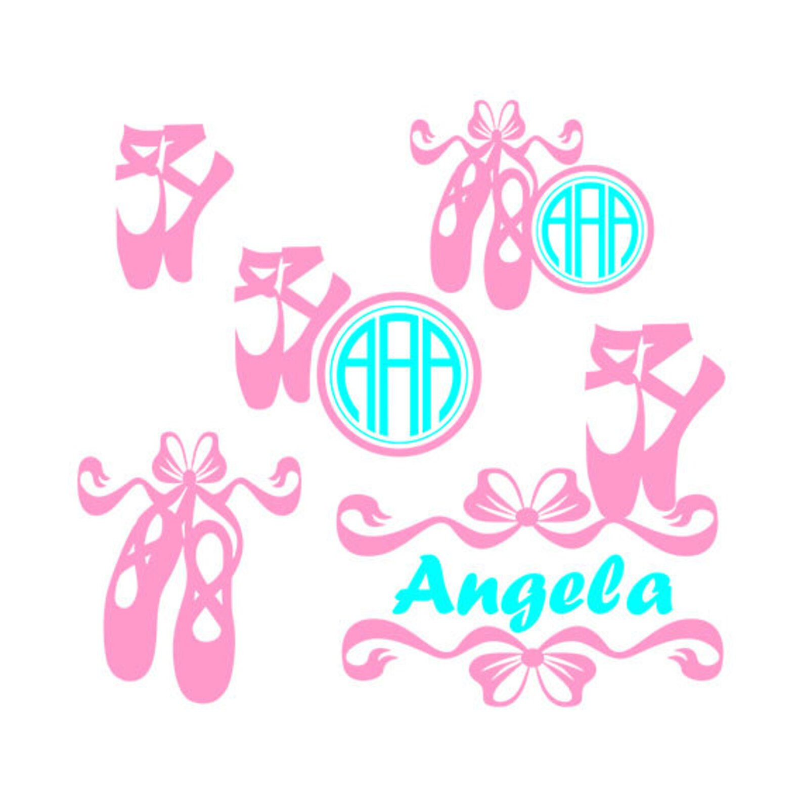 svg ballet shoes clipart - digital download -ballet shoes monogram files
